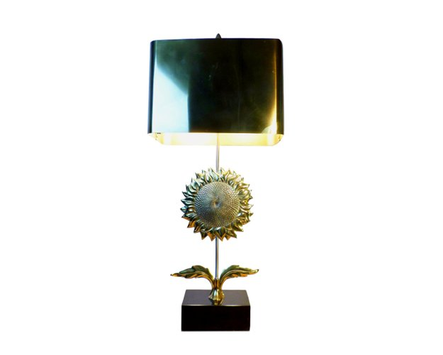 Vintage sunflower table lamp in gilt bronze from maison charles for sale at pamono
