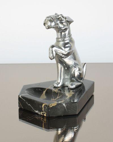 verchromte art deco metall fox terrier vide poche 1930er. Black Bedroom Furniture Sets. Home Design Ideas