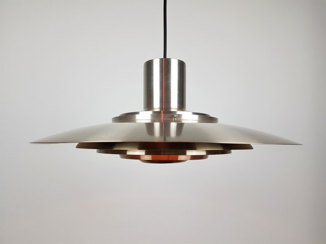 leicht vermessingte vintage aluminium h ngelampe von. Black Bedroom Furniture Sets. Home Design Ideas