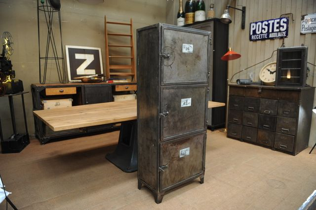 Industrial Cabinet In Metal With 3 Doors 1950s For Sale At Pamono