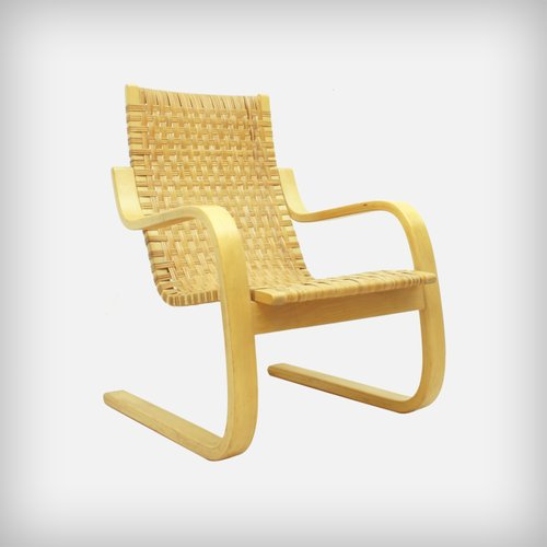 Finnish 406 birch cane webbing cantilever armchair by for Alvar aalto chaise longue