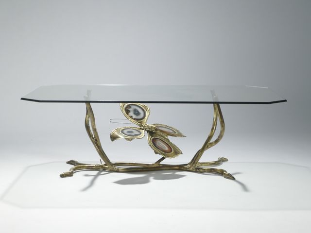 Vintage bronze glass coffee table by henri fernandez 1970s for sale at pamono