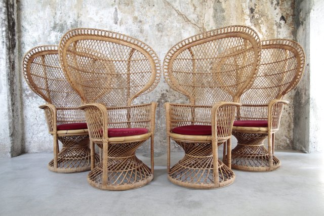 vintage italian emmanuelle rattan armchair 1970s for sale at pamono. Black Bedroom Furniture Sets. Home Design Ideas