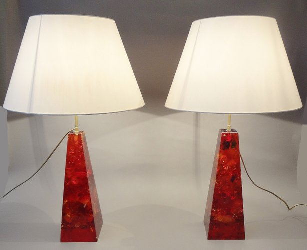 Obelisk resin lamps by henri fernandez 1970s set of 2 for sale at pamono