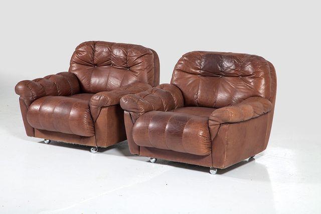 Schwedische Vintage Leder Sessel 1960er 2er Set Bei