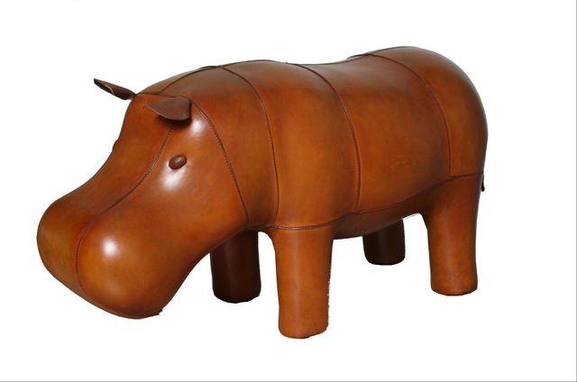 Vintage Hippopotamus Leather Foot Stool By Dimitri Omersa