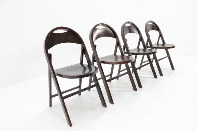 Bauhaus B 751 Folding Chairs From Thonet 1930s Set Of 4