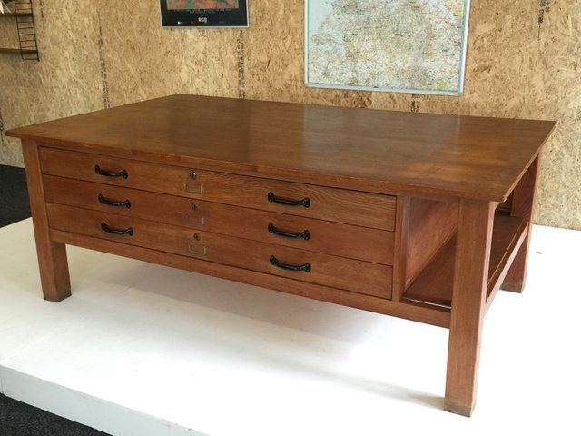 Large Oak Architect S Flat File Or Map Table From A Dutch University For At Pamono