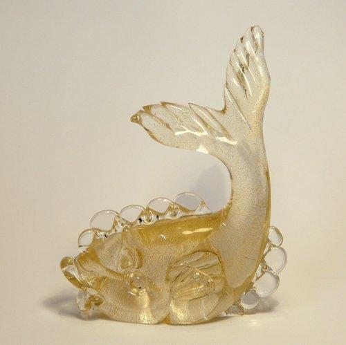 Art Deco Fisch Skulptur aus Murano Glas & Gold von Seguso bei Pamono ...
