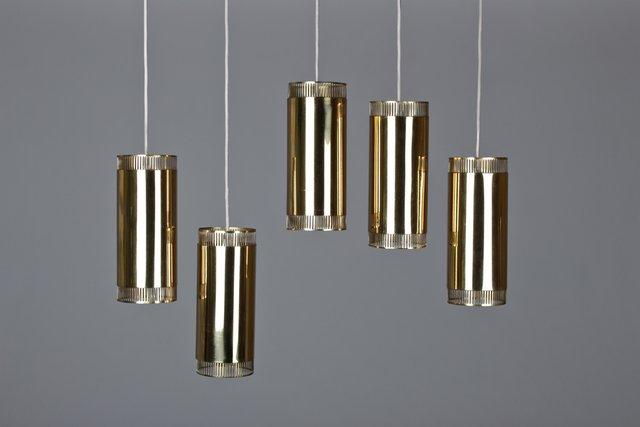 Vintage small brass pendant lights set of 5 en venta en pamono aloadofball Image collections
