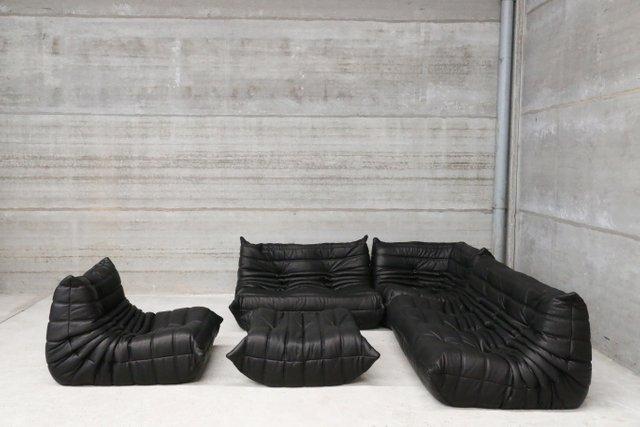 vintage black leather togo lounge set by michel ducaroy for ligne roset for sale at pamono. Black Bedroom Furniture Sets. Home Design Ideas
