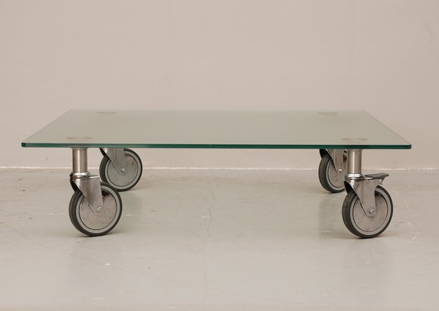 Attractive Glass Coffee Table On Wheels For Sale At Pamono
