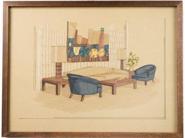 amerikanische mid century inneneinrichtung zeichnung 1950er bei pamono kaufen. Black Bedroom Furniture Sets. Home Design Ideas