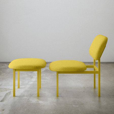 Re imagined low chair in yellow by nina tolstrup bei for Schlafsofa yellow