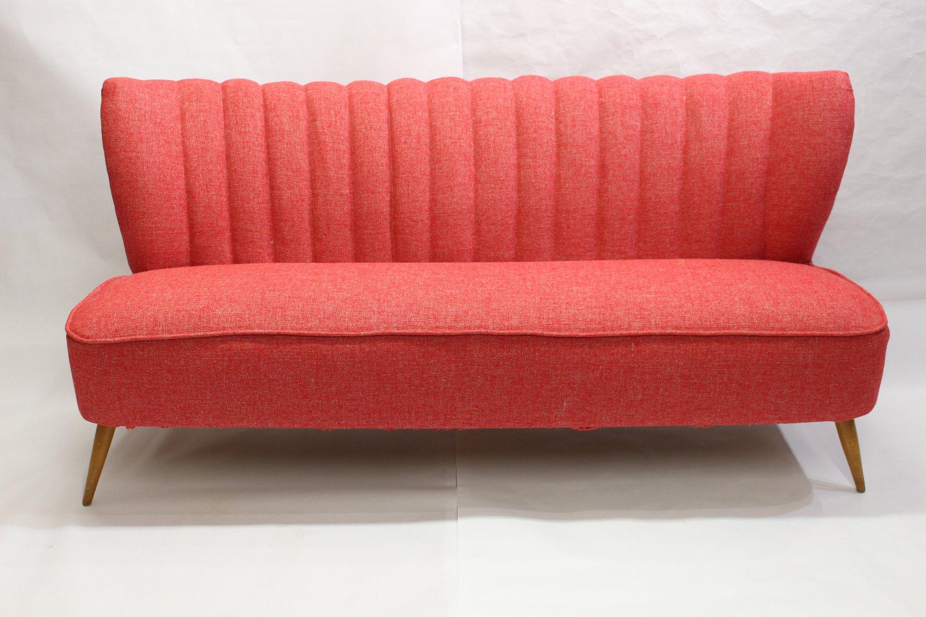 rotes vintage drei sitzer sofa bei pamono kaufen. Black Bedroom Furniture Sets. Home Design Ideas