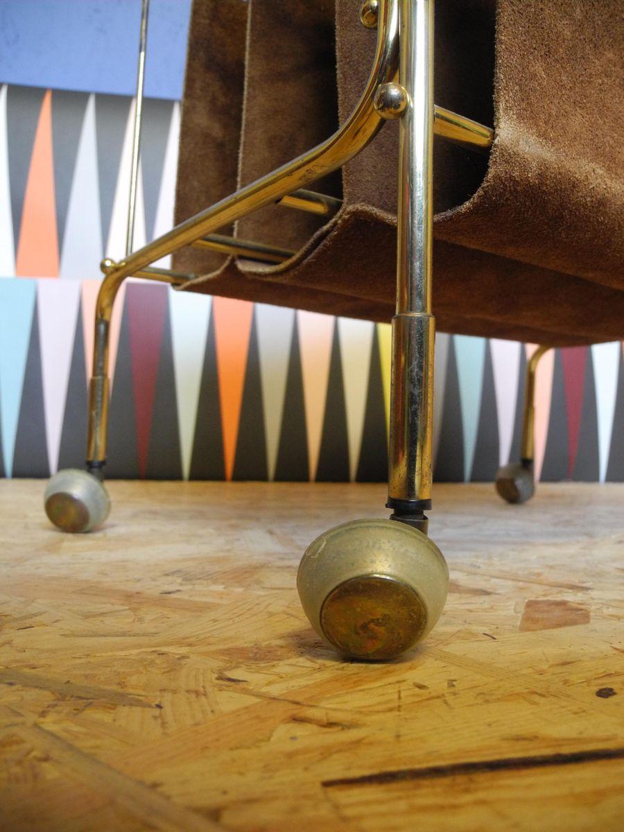 mid century wildleder zeitungsst nder auf rollen bei pamono kaufen. Black Bedroom Furniture Sets. Home Design Ideas
