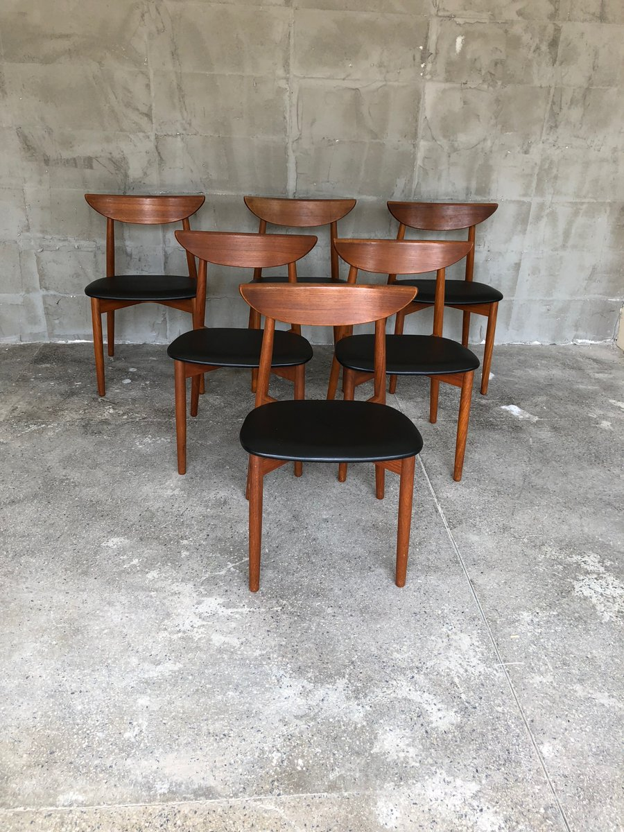 d nische teak st hle von harry ostergaard 1960er 6er set. Black Bedroom Furniture Sets. Home Design Ideas