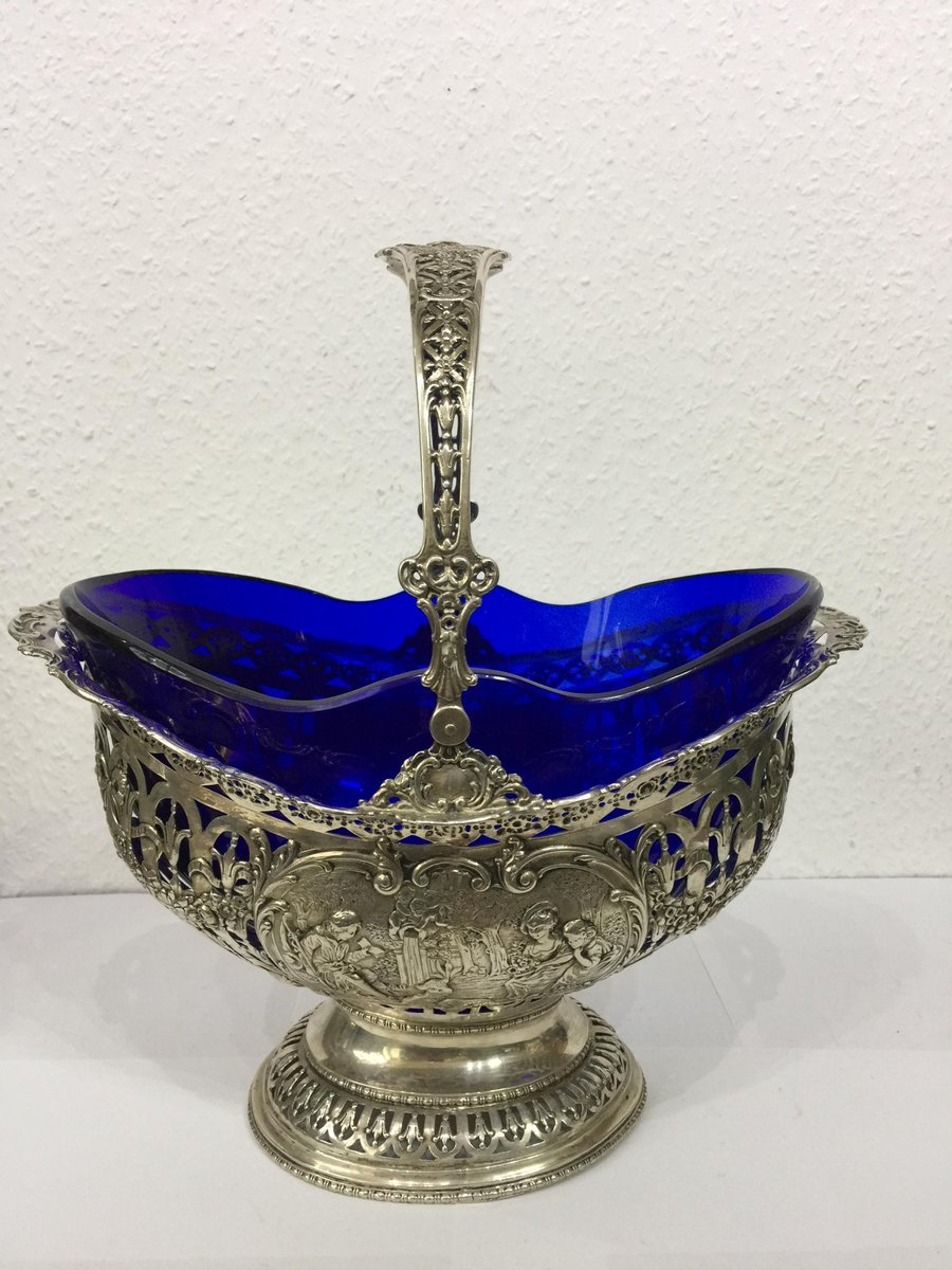 Antique Silver And Cobalt Blue Glass Fruit Basket For Sale