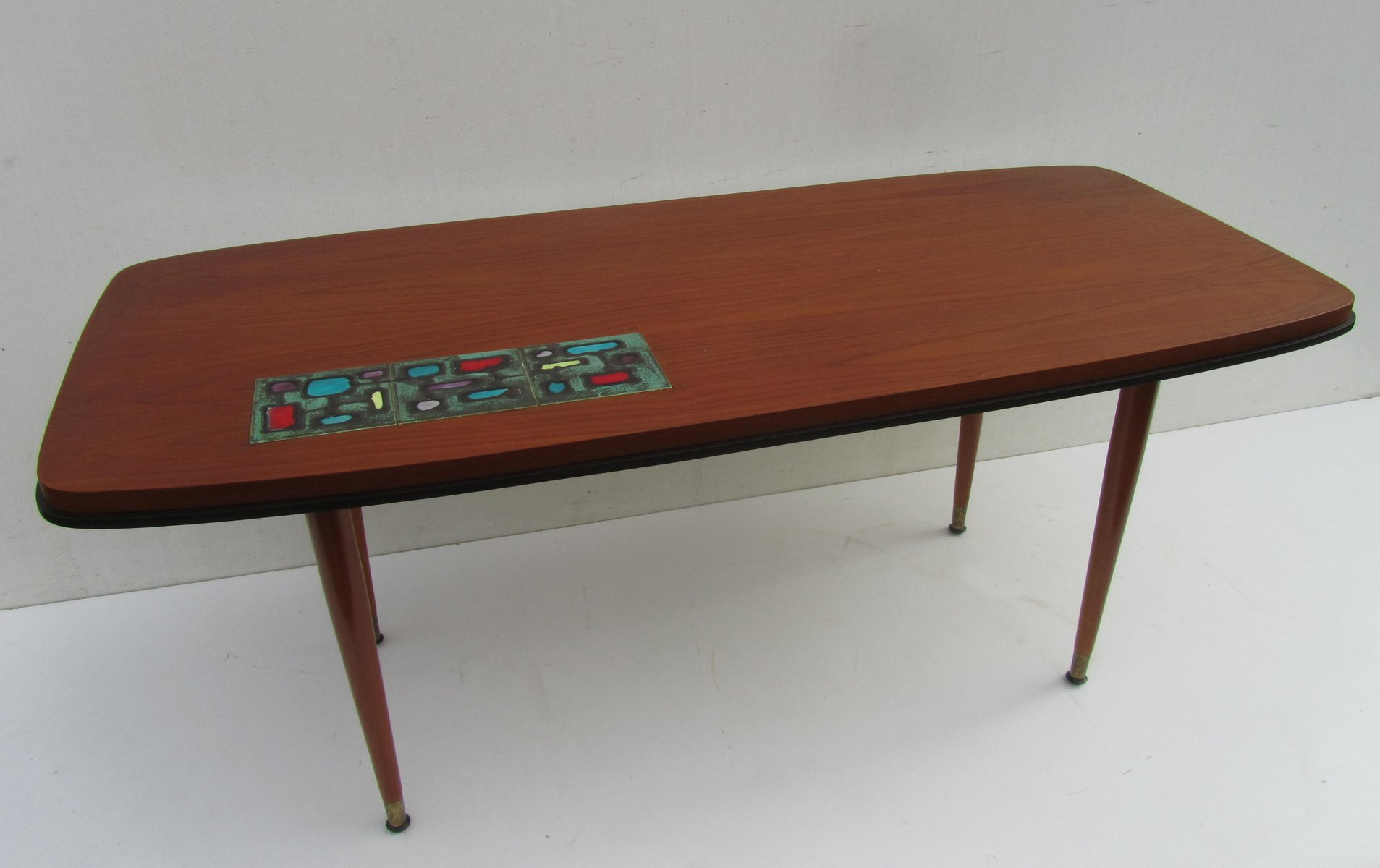 Vintage teak coffee table with ceramic tile 1950s for sale at pamono dailygadgetfo Image collections