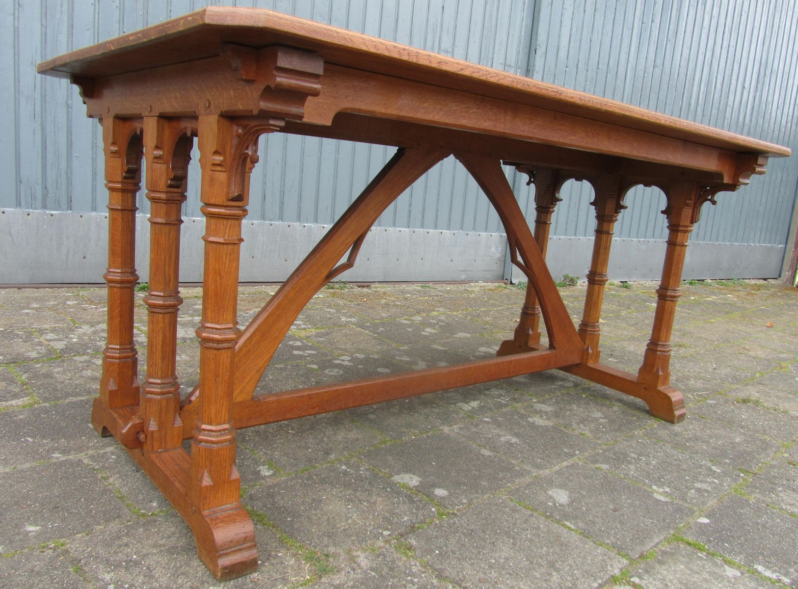 gothic revival furniture - For Sale on Dark mahogany hall chair with  spindle legs and back