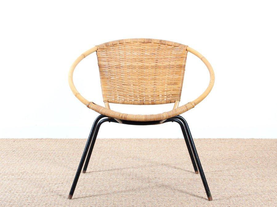 fauteuil scandinave rond en rotin 1950s en vente sur pamono. Black Bedroom Furniture Sets. Home Design Ideas