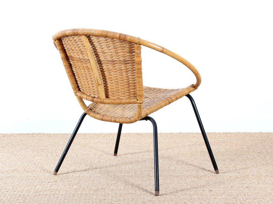 runder skandinavischer rattan armlehnstuhl 1950er bei. Black Bedroom Furniture Sets. Home Design Ideas