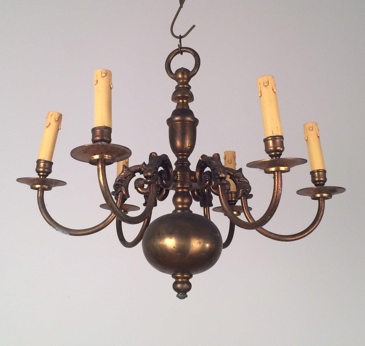 niederl ndischer kronleuchter aus bronze messing 1940er. Black Bedroom Furniture Sets. Home Design Ideas