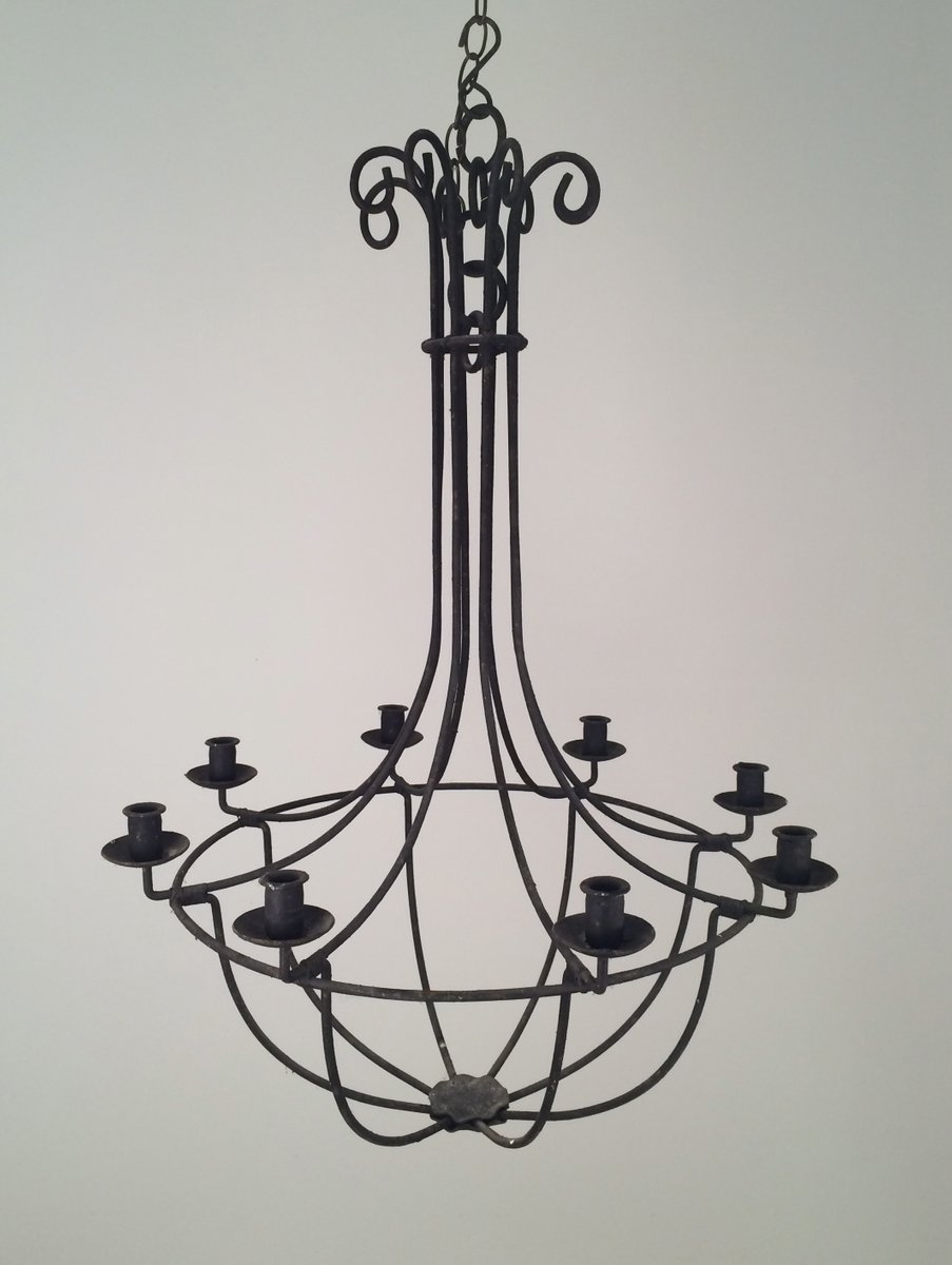 Wrought Iron Cage Chandelier 1940s 8 1 318 00 Price Per Piece