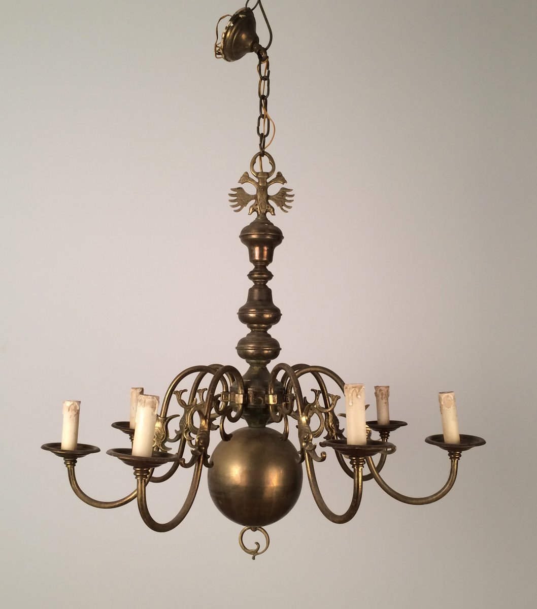 Vintage bronze and brass chandelier 1940s for sale at pamono vintage bronze and brass chandelier 1940s arubaitofo Image collections