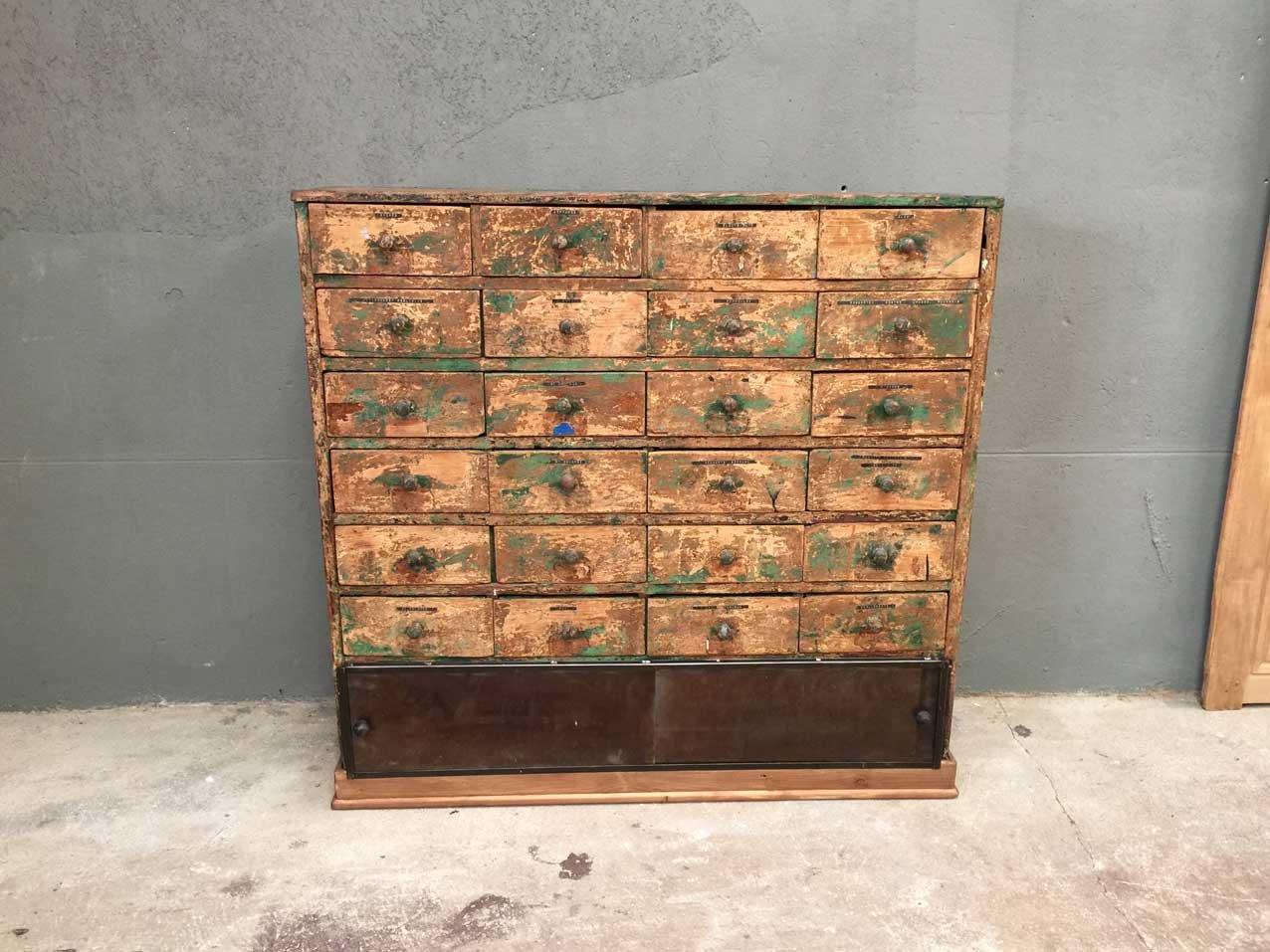 Vintage Werkstatt Schrank mit 24 Schubfächern bei Pamono kaufen