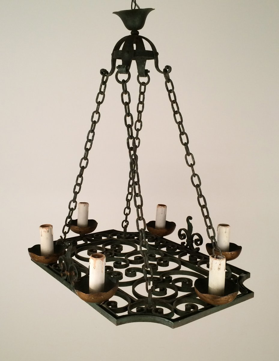 Wrought iron four lights chandelier 1900s for sale at pamono mozeypictures Images