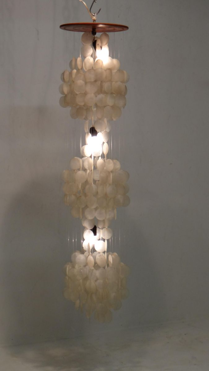 Lovely Vintage Three Tier Capiz Shell Chandelier