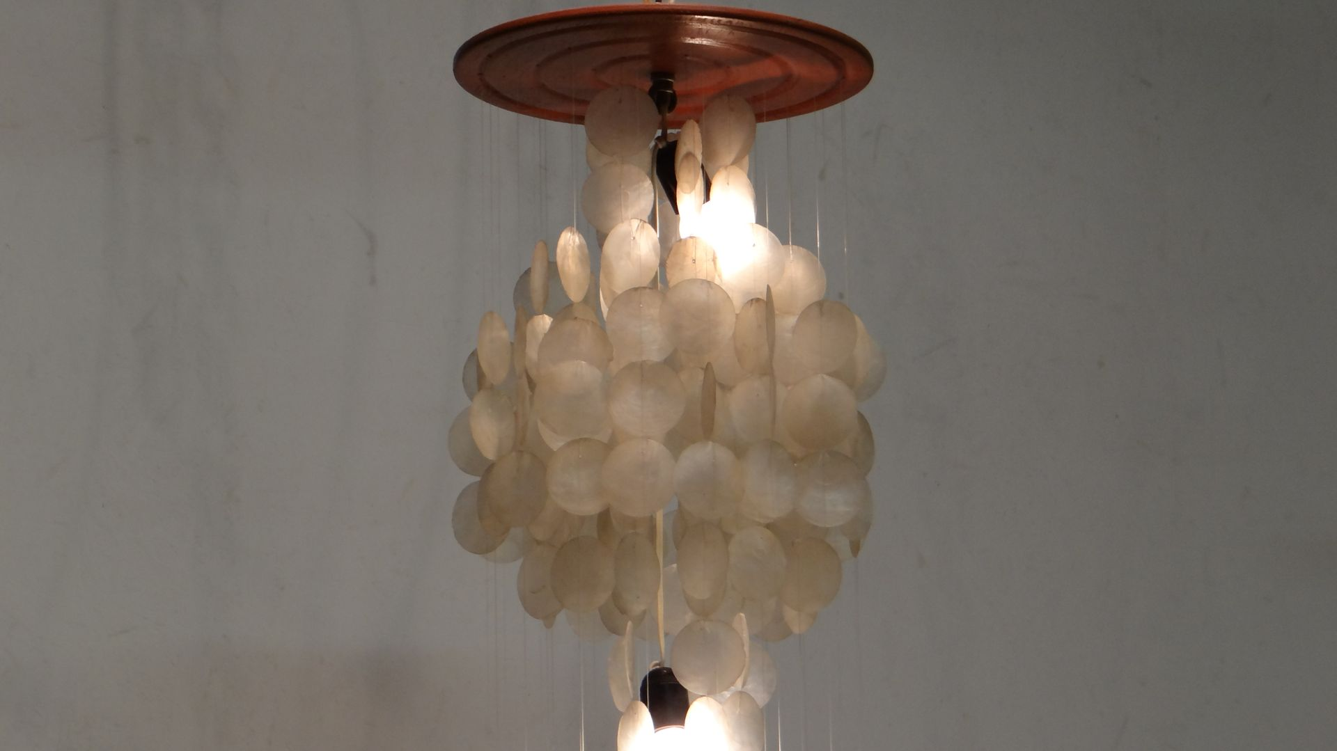 Vintage Three Tier Capiz Shell Chandelier for sale at Pamono