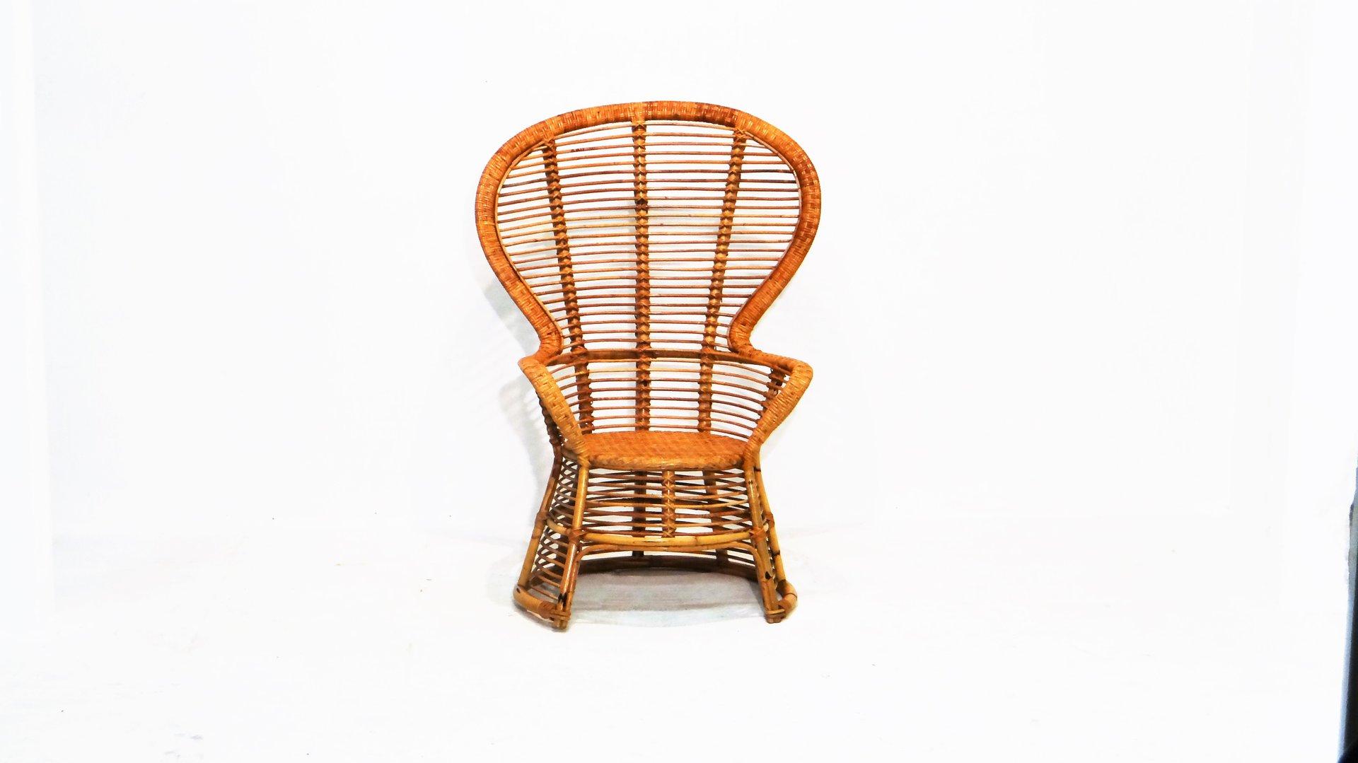 vintage rattan sessel mit hoher r ckenlehne bei pamono kaufen. Black Bedroom Furniture Sets. Home Design Ideas