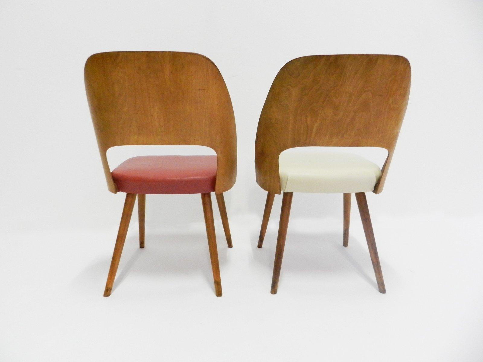 d nische st hle in rot wei 1950er bei pamono kaufen. Black Bedroom Furniture Sets. Home Design Ideas