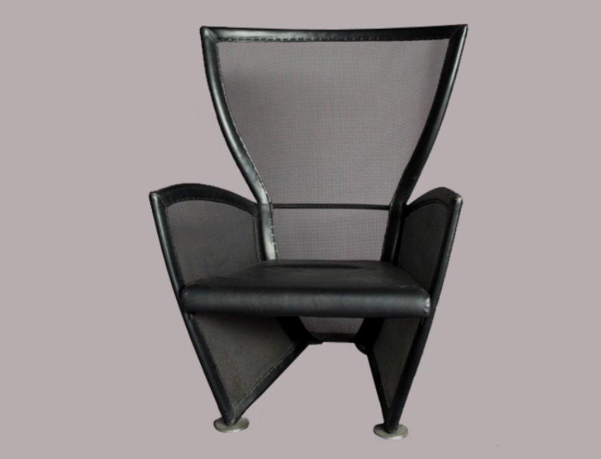 italienischer vintage leder lounge stuhl 1970er bei. Black Bedroom Furniture Sets. Home Design Ideas