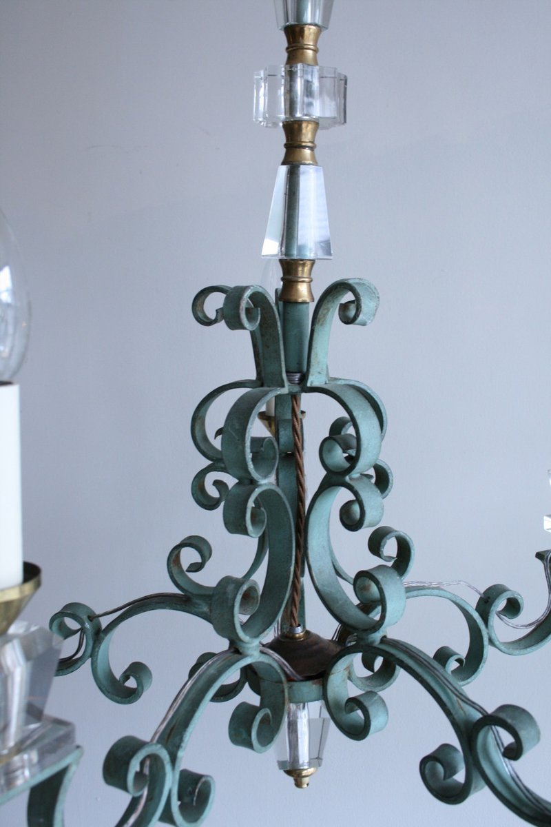 franz sischer vintage kronleuchter aus gusseisen und kristall bei pamono kaufen. Black Bedroom Furniture Sets. Home Design Ideas