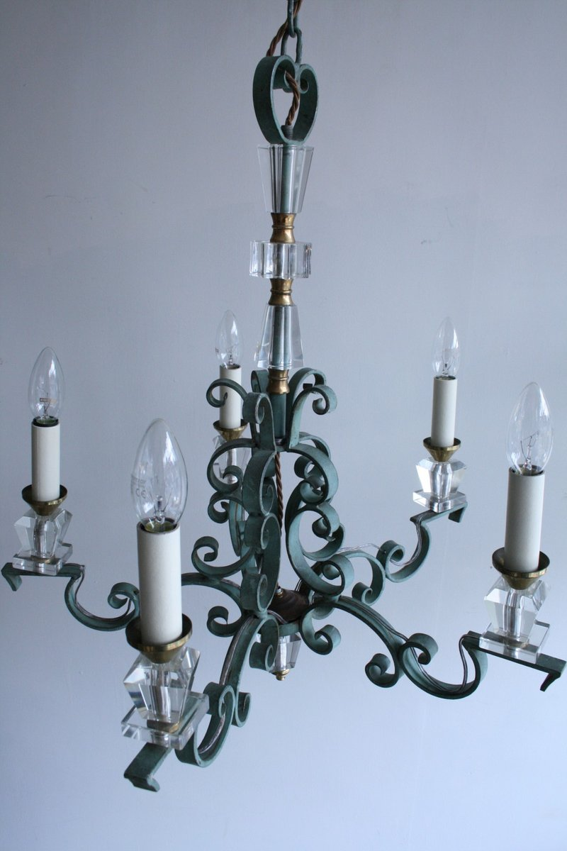 Vintage french wrought iron and crystal chandelier for sale at pamono vintage french wrought iron and crystal chandelier arubaitofo Images