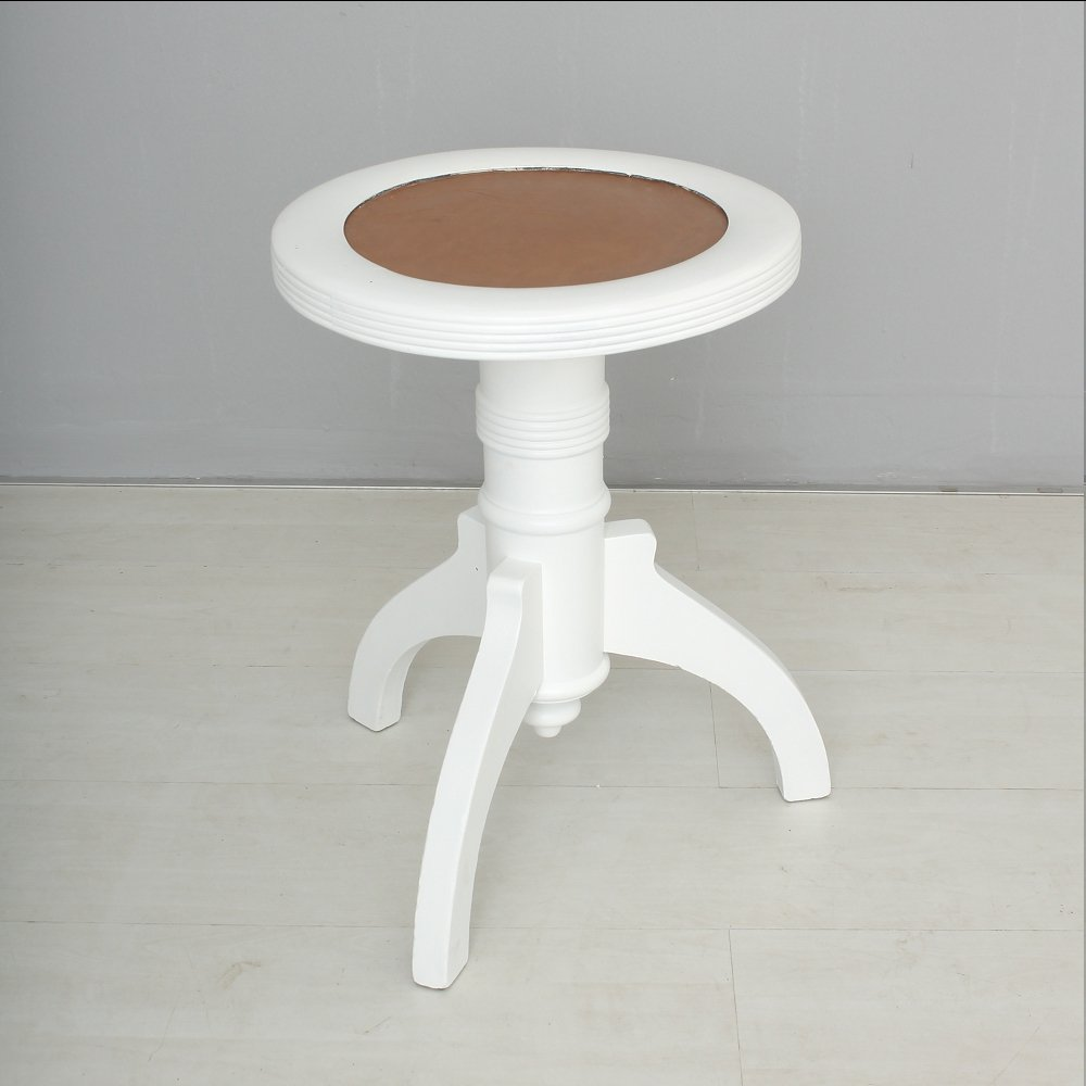 Vintage White Piano Stool For Sale At Pamono