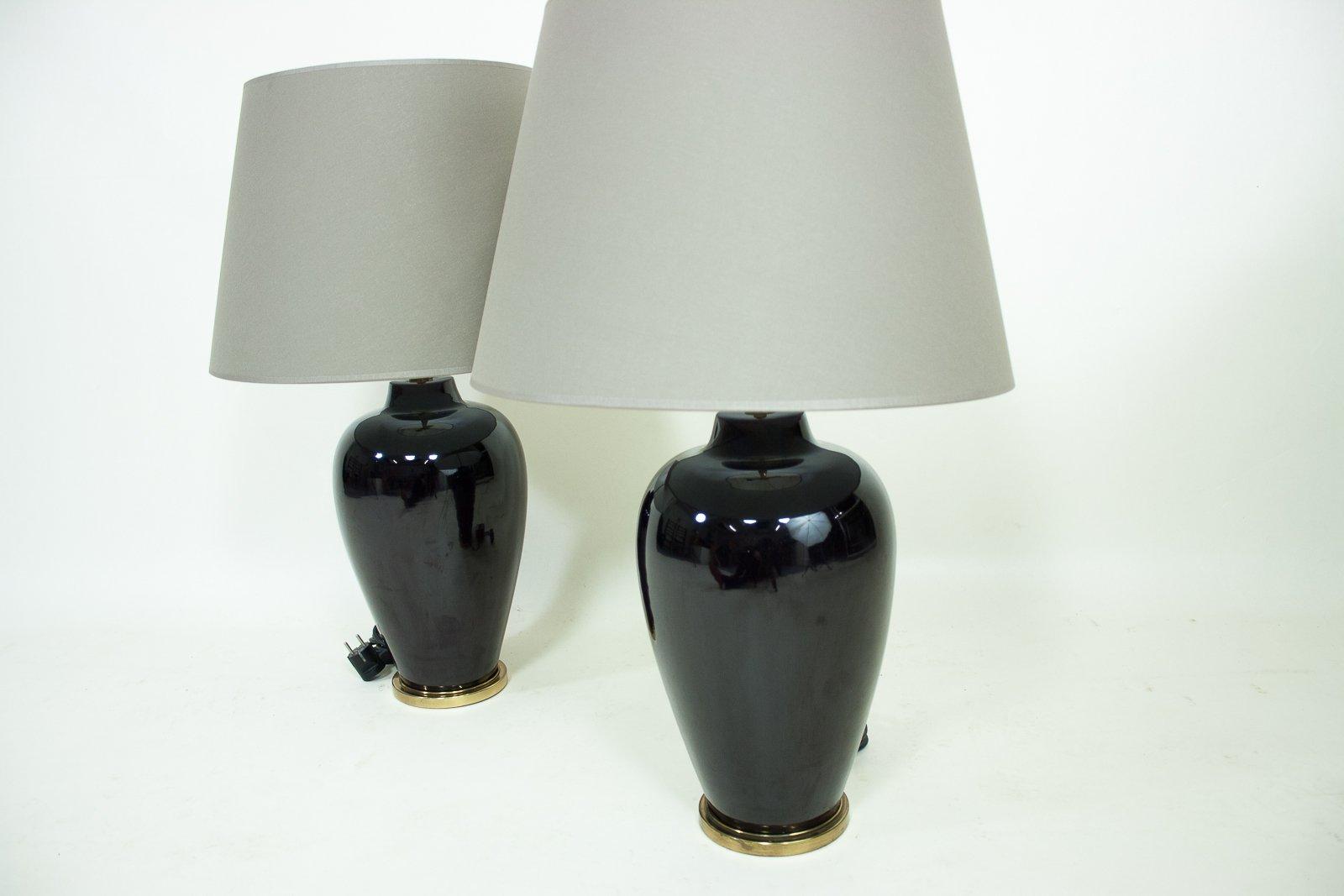 Vintage keramik messing lampen 2er set bei pamono kaufen for Lampen niederlande