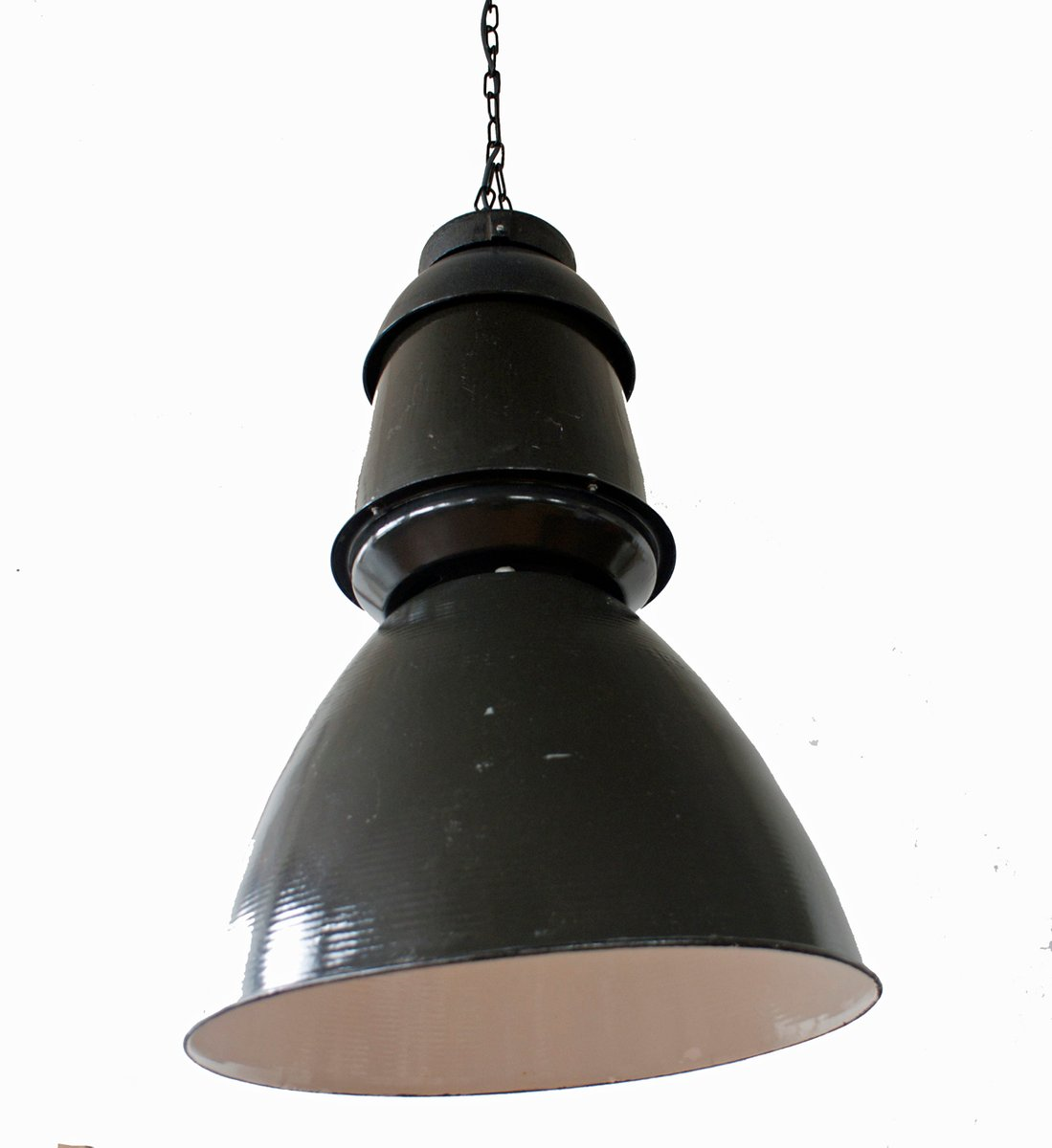 Large Black Industrial Pendant Lamp, 1950s