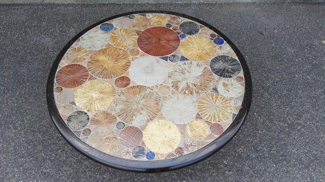 Danish Round Ceramic Tile Coffee Table By Tue Poulsen For Haslev Møbelsnedkeri 1963