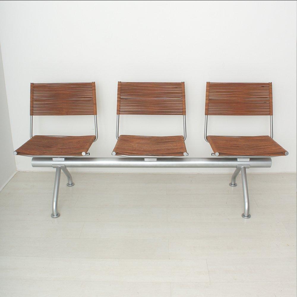sitzbank aus leder und metall mit drei st hlen 1970er bei pamono kaufen. Black Bedroom Furniture Sets. Home Design Ideas