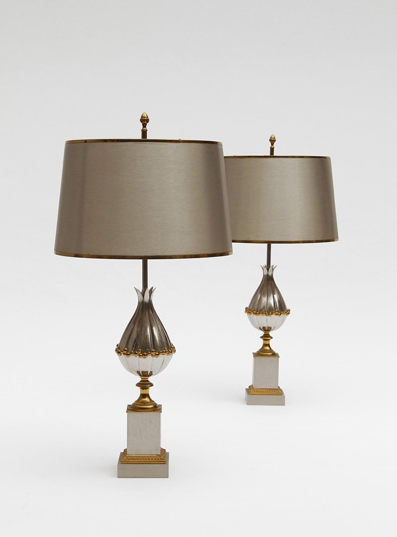 French gilt bronze lotus table lamps from maison charles et fils french gilt bronze lotus table lamps from maison charles et fils 1950s set of 2 mozeypictures Choice Image