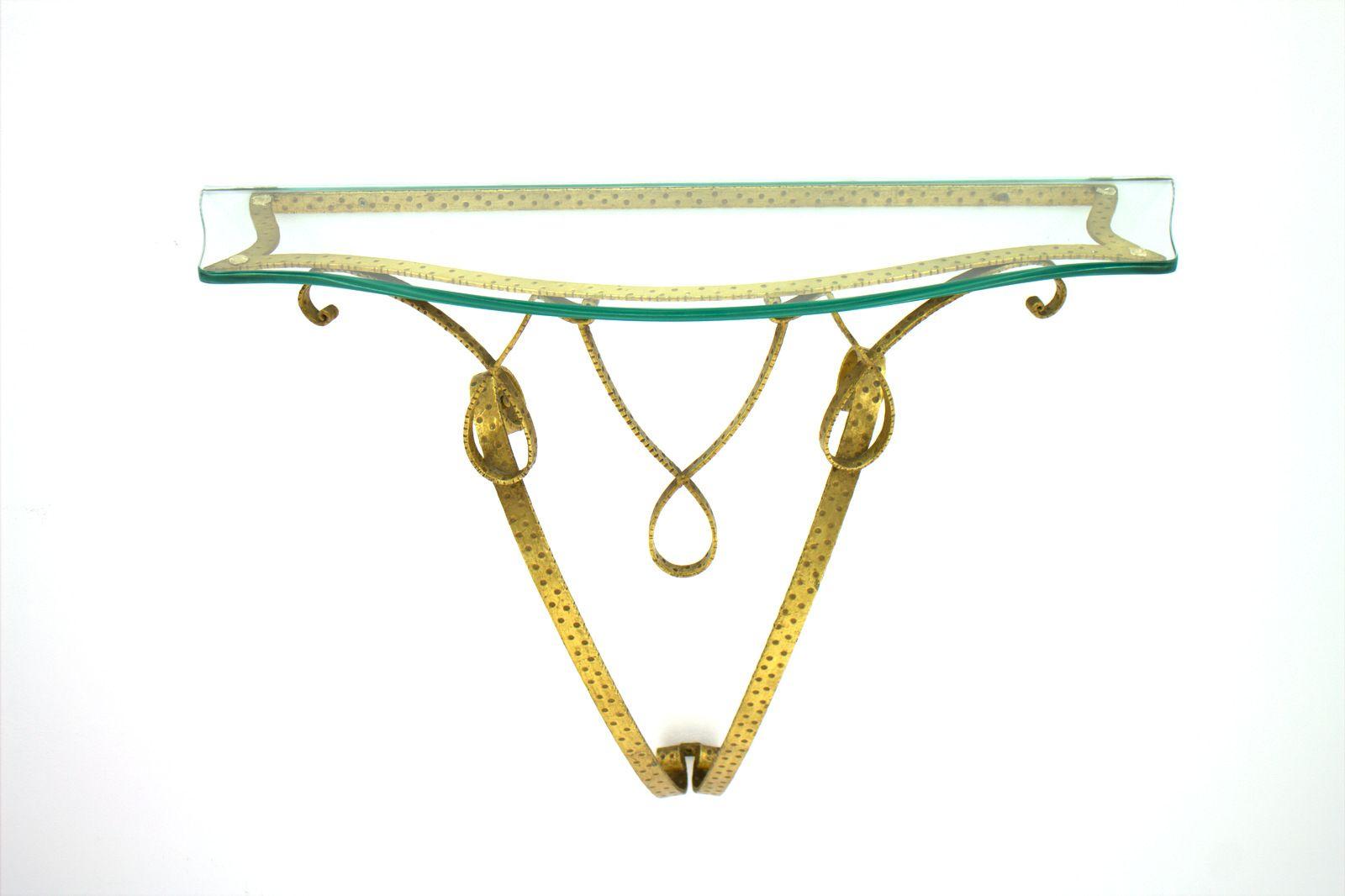 italienische messing glas wandkonsole von pier luigi colli 1950er bei pamono kaufen. Black Bedroom Furniture Sets. Home Design Ideas