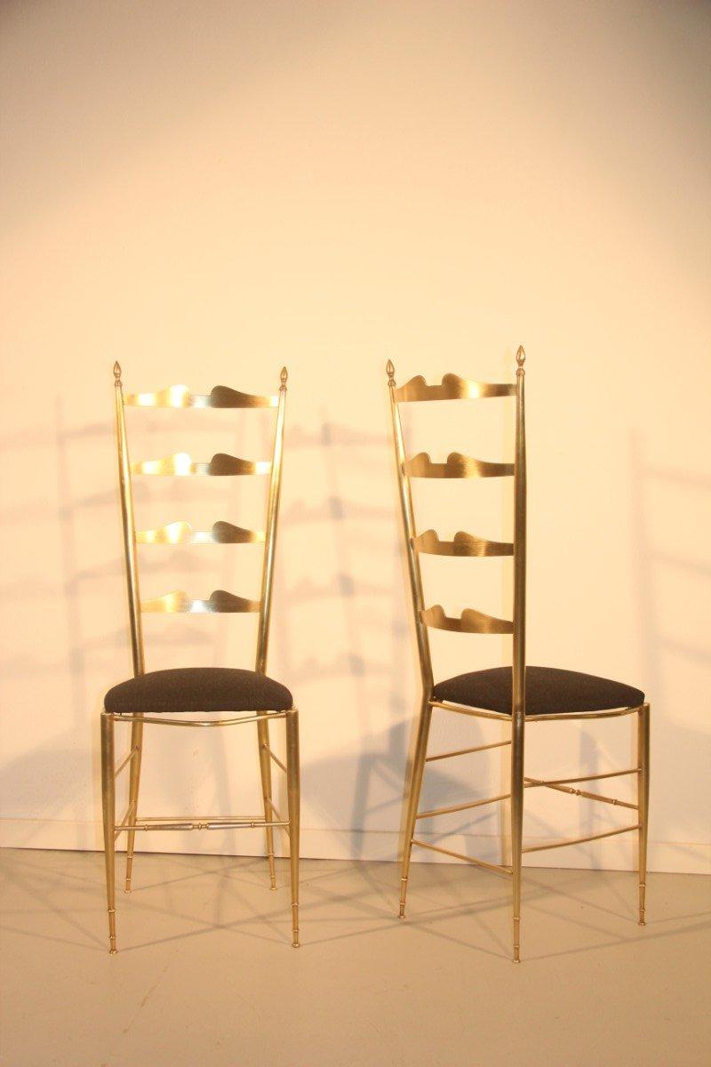 italienische st hle aus messing 1950 2er set bei pamono. Black Bedroom Furniture Sets. Home Design Ideas