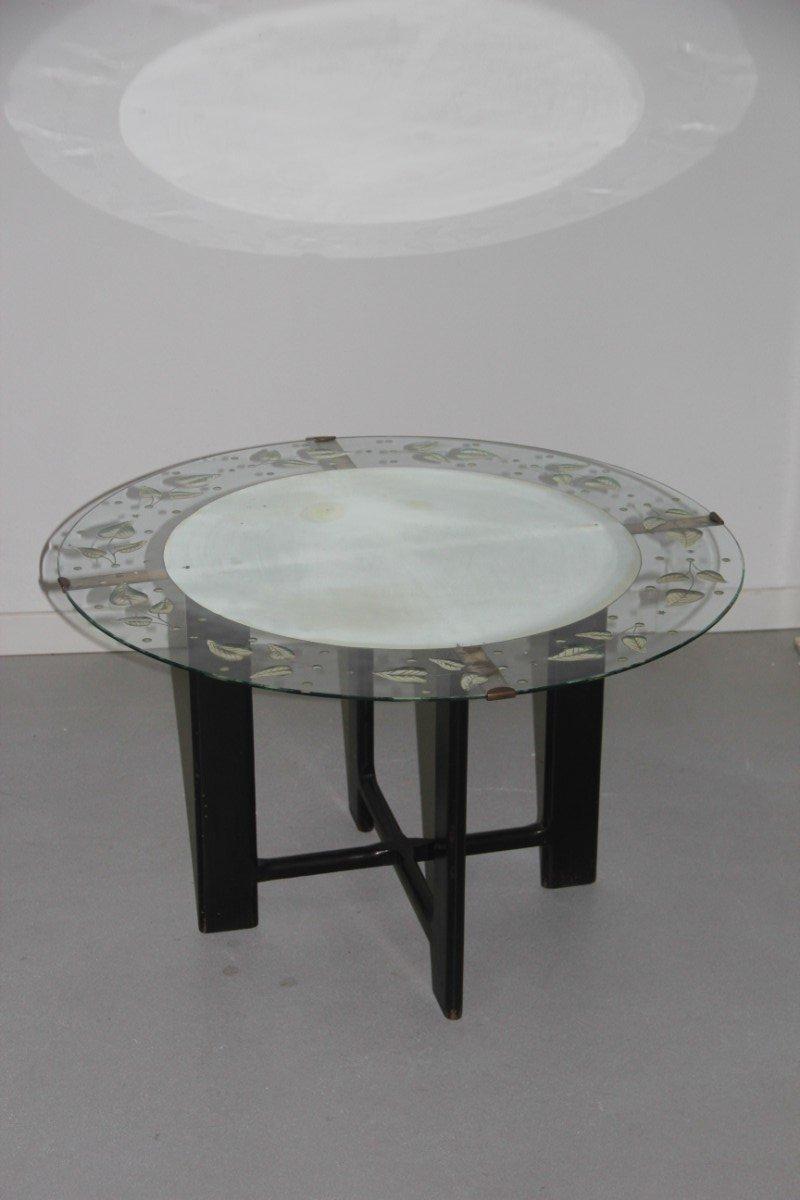 Runder vintage couchtisch aus glas mit bl ttermuster for Runder couchtisch glas