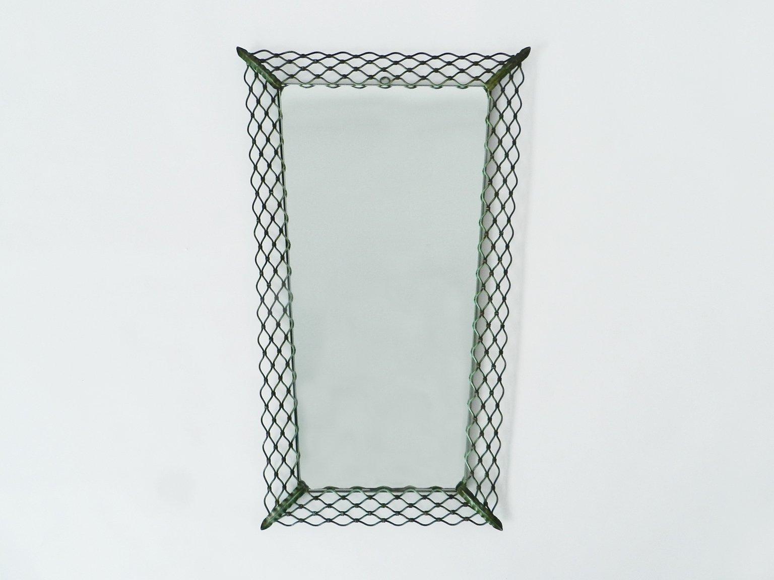 italienischer vintage spiegel mit metallrahmen bei pamono kaufen. Black Bedroom Furniture Sets. Home Design Ideas