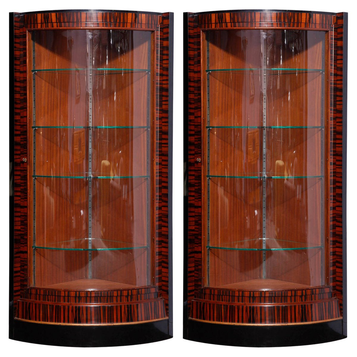 Lovely French Art Deco Corner Display Cabinets, 1935, Set Of 2