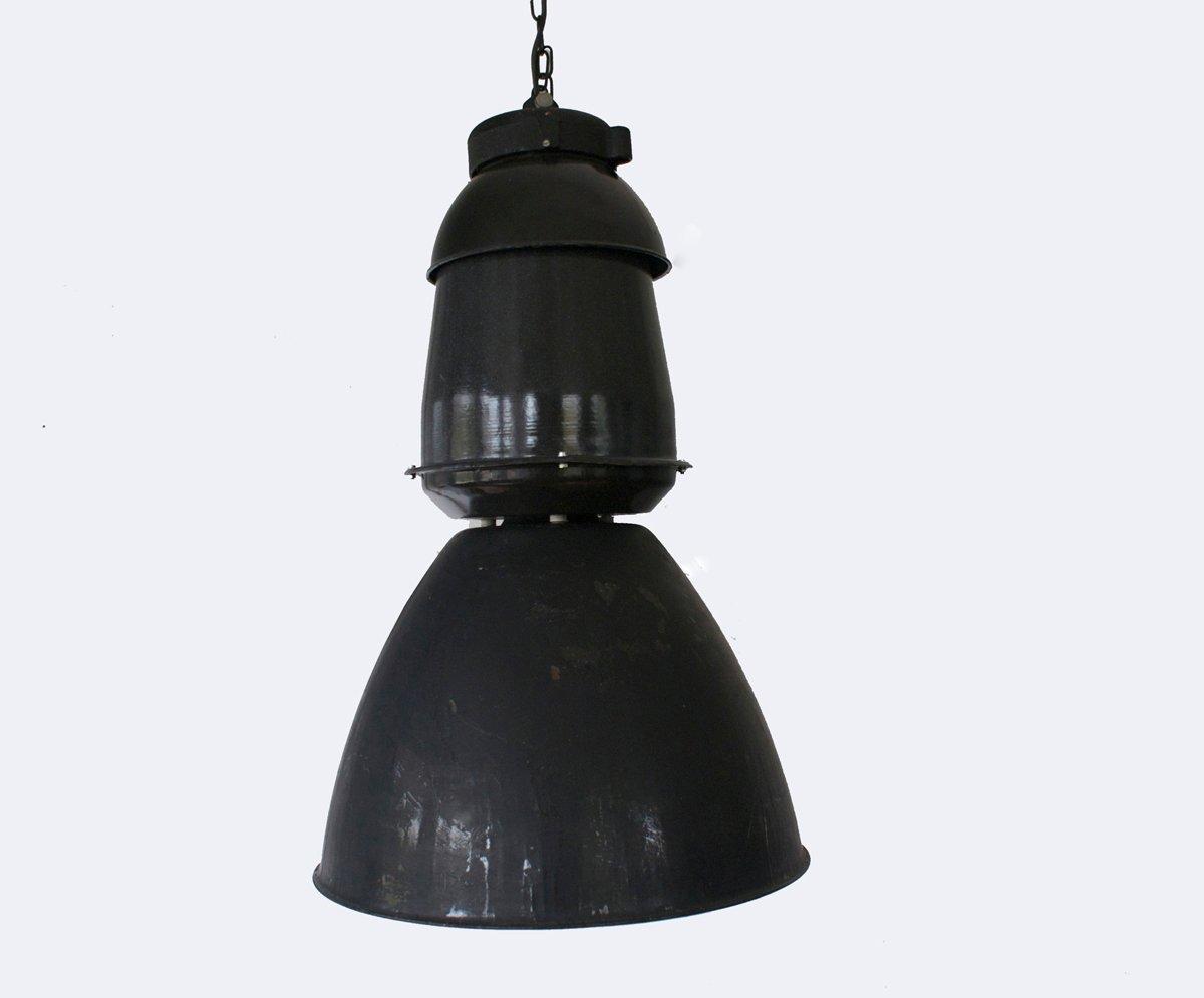 Grande Lampe à Suspension Industrielle Noire, 1950s en vente sur Pamono
